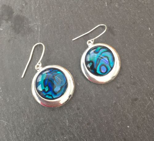 Paua Blue Earrings - Large Circle PE17-LC